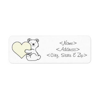 Valentine's Day Polar Bear with Cream Heart Label