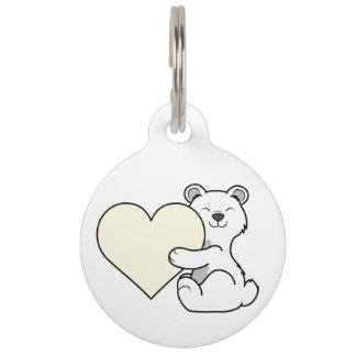 Valentine's Day Polar Bear with Cream Heart Pet ID Tag
