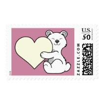 Valentine's Day Polar Bear with Cream Heart Postage