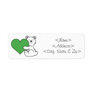 Valentine's Day Polar Bear with Green Heart Label
