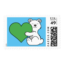 Valentine's Day Polar Bear with Green Heart Postage