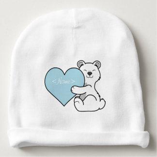 Valentine's Day Polar Bear with Light Blue Heart Baby Beanie
