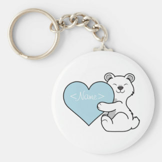 Valentine's Day Polar Bear with Light Blue Heart Keychain