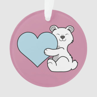 Valentine's Day Polar Bear with Light Blue Heart Ornament