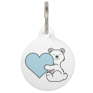 Valentine's Day Polar Bear with Light Blue Heart Pet Name Tag