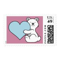 Valentine's Day Polar Bear with Light Blue Heart Postage