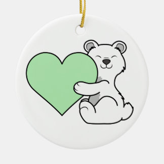 Valentine's Day Polar Bear with Light Green Heart Ceramic Ornament