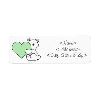Valentine's Day Polar Bear with Light Green Heart Label