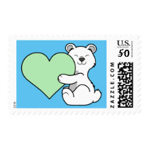 Valentine's Day Polar Bear with Light Green Heart Postage