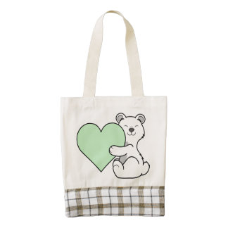 Valentine's Day Polar Bear with Light Green Heart Zazzle HEART Tote Bag
