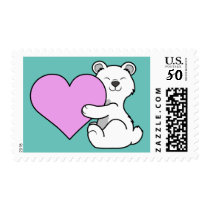 Valentine's Day Polar Bear with Light Pink Heart Postage