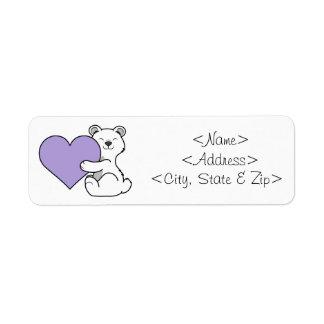 Valentine's Day Polar Bear with Light Purple Heart Label