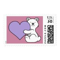 Valentine's Day Polar Bear with Light Purple Heart Postage