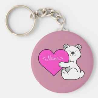 Valentine's Day Polar Bear with Pink Heart Keychain