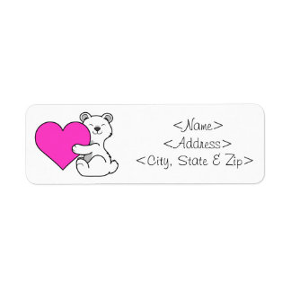 Valentine's Day Polar Bear with Pink Heart Label