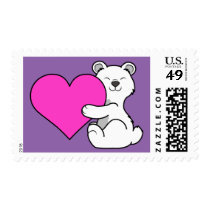 Valentine's Day Polar Bear with Pink Heart Postage