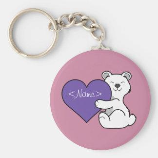 Valentine's Day Polar Bear with Purple Heart Keychain
