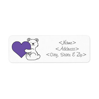 Valentine's Day Polar Bear with Purple Heart Label