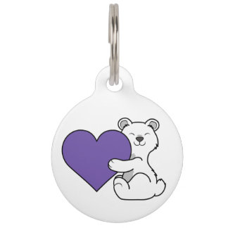 Valentine's Day Polar Bear with Purple Heart Pet ID Tag