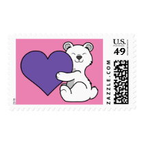 Valentine's Day Polar Bear with Purple Heart Postage
