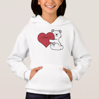 Valentine's Day Polar Bear with Red Heart Hoodie