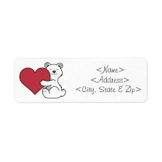 Valentine's Day Polar Bear with Red Heart Label