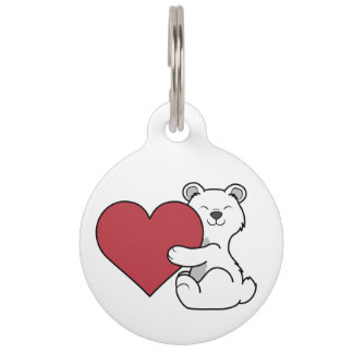 Valentine's Day Polar Bear with Red Heart Pet Name Tag