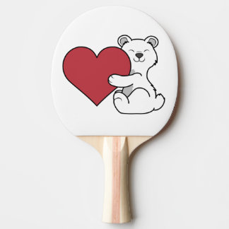 Valentine's Day Polar Bear with Red Heart Ping-Pong Paddle