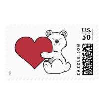 Valentine's Day Polar Bear with Red Heart Postage
