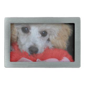 Valentine's Day Poodle  Dog Rectangular Belt Buckle