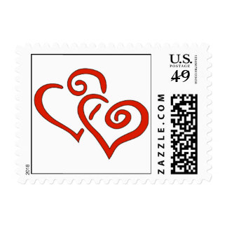Valentine's Day Postage Stamps Linked Hearts