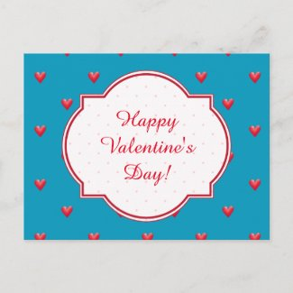 Valentine's Day Postcard, Aqua, Red Hearts Holiday Postcard