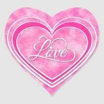 Valentine's Day - Pretty Pink Hearts Love WA Heart Sticker
