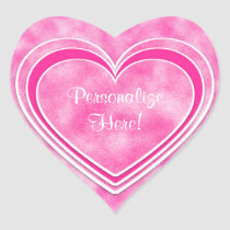 Valentine's Day - Pretty Pink Hearts Personalize Heart Sticker