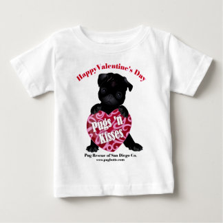 Valentine's Day Pug - Pugs N Kisses Black Pug Baby T-Shirt