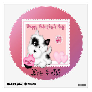 Valentine's Day Puppy Round Wall Decal
