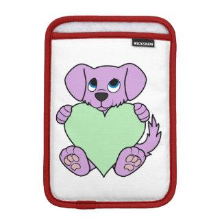 Valentine's Day Purple Dog with Light Green Heart iPad Mini Sleeve