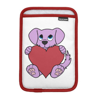 Valentine's Day Purple Dog with Red Heart Sleeve For iPad Mini