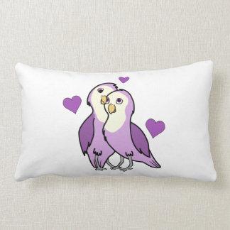day purple love birds with hearts lumbar pillow