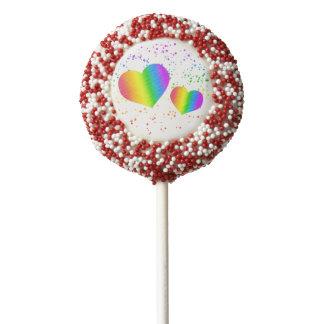 Valentine's Day Rainbow Confetti LGBT Pride Chocolate Covered Oreo Pop