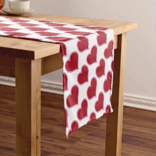 Valentine S Day Red And White Heart Pattern Love Short Table Runner