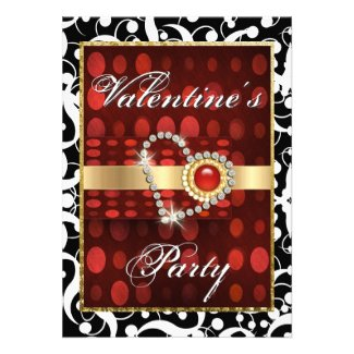 """Valentine's day"" red black elegant heart Personalized Invite"