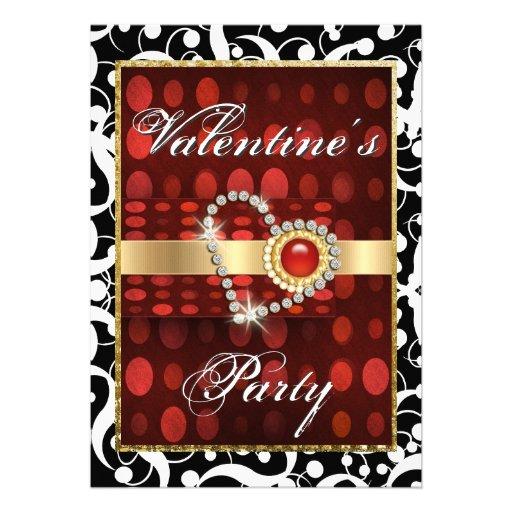 """Valentine's day"" red black elegant heart Personalized Invite"