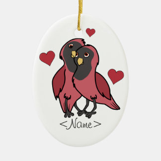 Valentine's Day Red & Black Love Birds with Hearts Ceramic Ornament