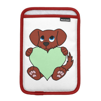 Valentine's Day Red Dog with Light Green Heart Sleeve For iPad Mini