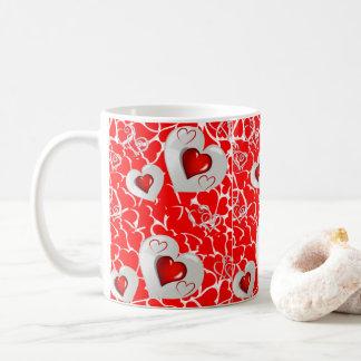 valentine's day red heart black mugs