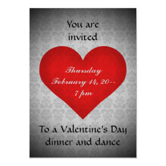 Valentine's day red heart dinner party 5x7 5x7 paper invitation card