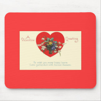 Valentine's Day Red Heart Floral Mouse Pad