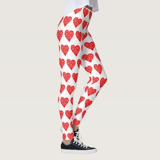 65f4aae50fbf3 Valentine's Day Red Heart White Leggings   Zazzle.com