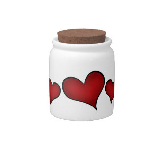 Valentines Day red hearts Candy Jar